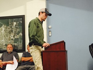 Alec Underwood gives testimony at Stevensville town council.