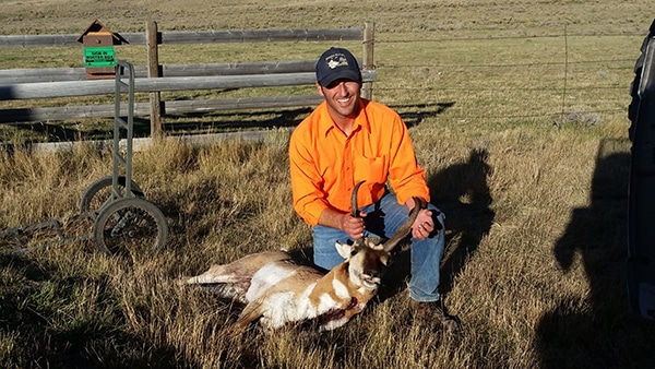 Nick Gevock with antelope taken on block management